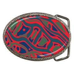Red and green abstract art Belt Buckles