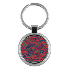 Red and green abstract art Key Chains (Round)