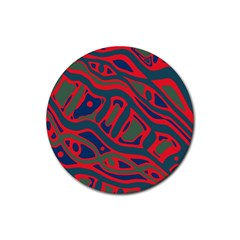 Red and green abstract art Rubber Round Coaster (4 pack)