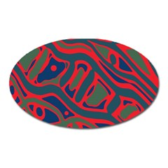 Red and green abstract art Oval Magnet