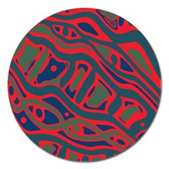 Red and green abstract art Magnet 5  (Round)