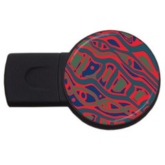 Red and green abstract art USB Flash Drive Round (1 GB)