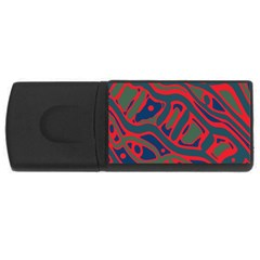 Red and green abstract art USB Flash Drive Rectangular (1 GB)