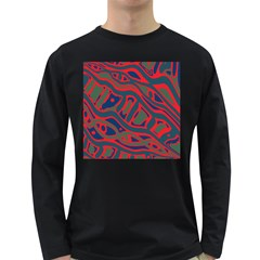 Red and green abstract art Long Sleeve Dark T-Shirts