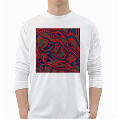 Red and green abstract art White Long Sleeve T-Shirts