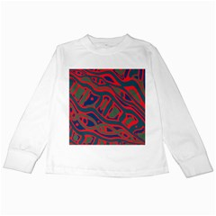 Red and green abstract art Kids Long Sleeve T-Shirts