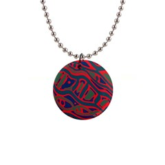 Red and green abstract art Button Necklaces