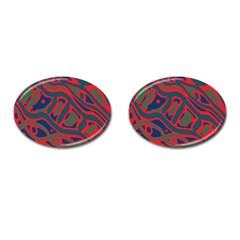 Red and green abstract art Cufflinks (Oval)