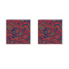 Red and green abstract art Cufflinks (Square)