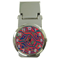 Red and green abstract art Money Clip Watches