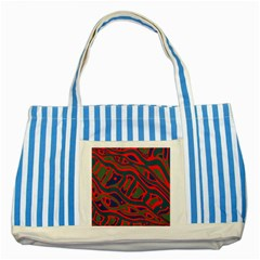 Red and green abstract art Striped Blue Tote Bag