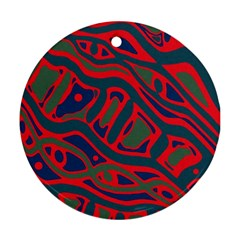 Red and green abstract art Round Ornament (Two Sides)