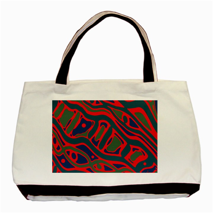 Red and green abstract art Basic Tote Bag (Two Sides)