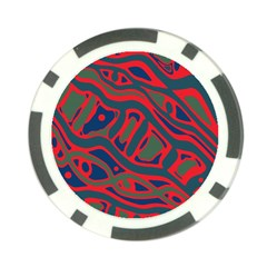 Red and green abstract art Poker Chip Card Guards