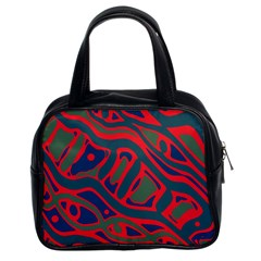 Red and green abstract art Classic Handbags (2 Sides)