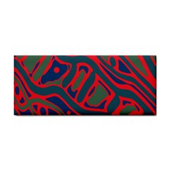 Red and green abstract art Hand Towel