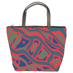 Red and green abstract art Bucket Bags