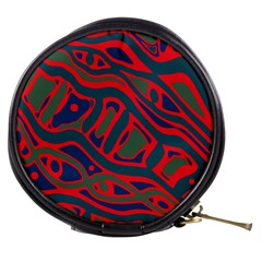 Red and green abstract art Mini Makeup Bags
