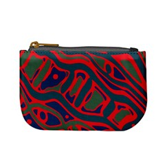 Red and green abstract art Mini Coin Purses