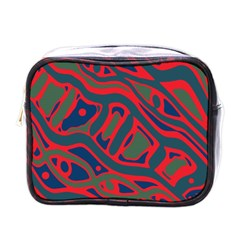 Red and green abstract art Mini Toiletries Bags