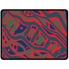 Red and green abstract art Fleece Blanket (Large)