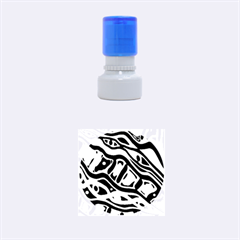 Red and green abstract art Rubber Round Stamps (Small)