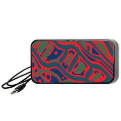 Red and green abstract art Portable Speaker (Black)
