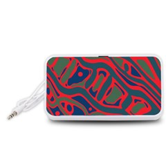 Red and green abstract art Portable Speaker (White)