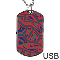 Red and green abstract art Dog Tag USB Flash (One Side)
