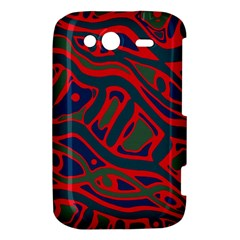 Red and green abstract art HTC Wildfire S A510e Hardshell Case