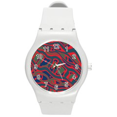 Red and green abstract art Round Plastic Sport Watch (M)