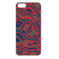 Red and green abstract art Apple iPhone 5 Seamless Case (White)