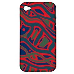 Red and green abstract art Apple iPhone 4/4S Hardshell Case (PC+Silicone)