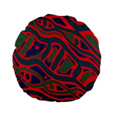 Red and green abstract art Standard 15  Premium Round Cushions