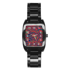 Red and green abstract art Stainless Steel Barrel Watch