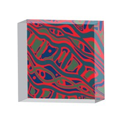 Red and green abstract art 4 x 4  Acrylic Photo Blocks