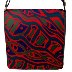 Red and green abstract art Flap Messenger Bag (S)