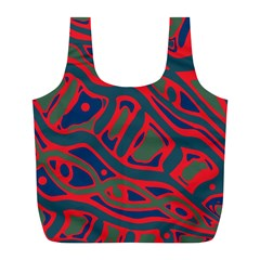 Red and green abstract art Full Print Recycle Bags (L)
