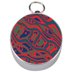 Red and green abstract art Silver Compasses