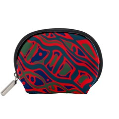Red and green abstract art Accessory Pouches (Small)