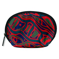 Red and green abstract art Accessory Pouches (Medium)
