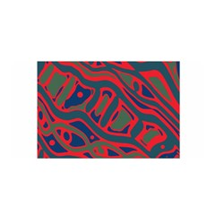 Red and green abstract art Satin Wrap