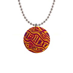 Orange abstract art Button Necklaces
