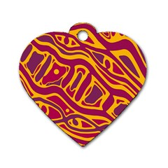 Orange abstract art Dog Tag Heart (Two Sides)