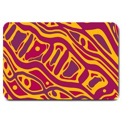 Orange abstract art Large Doormat