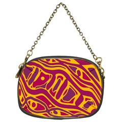 Orange Abstract Art Chain Purses (one Side)