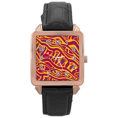 Orange abstract art Rose Gold Leather Watch