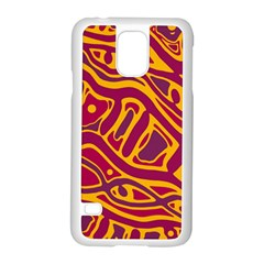 Orange abstract art Samsung Galaxy S5 Case (White)