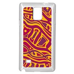 Orange abstract art Samsung Galaxy Note 4 Case (White)