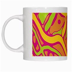Orange hot abstract art White Mugs